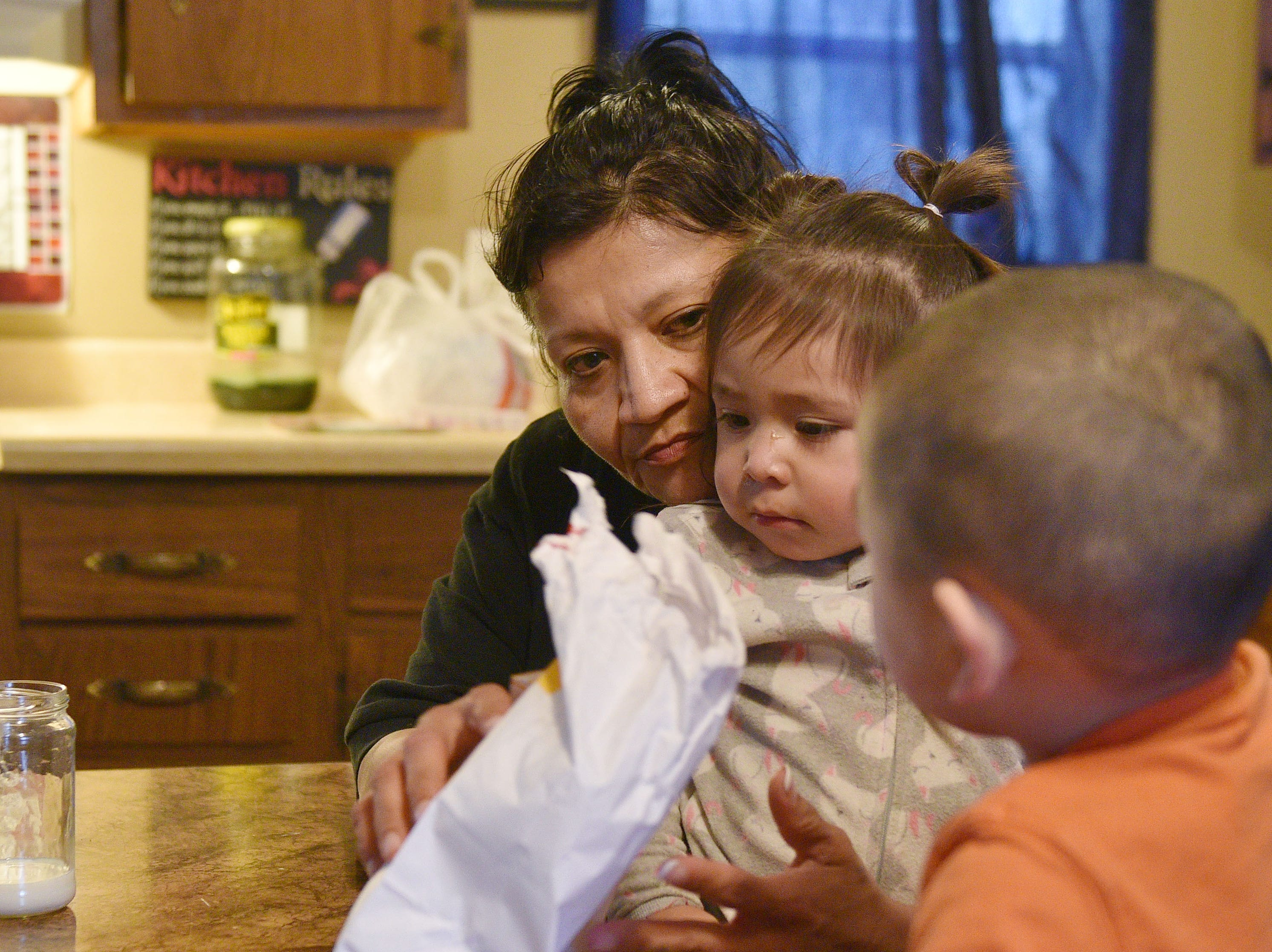 Shannon Keeble gives her grandkids Karmliegh Quinn and 
