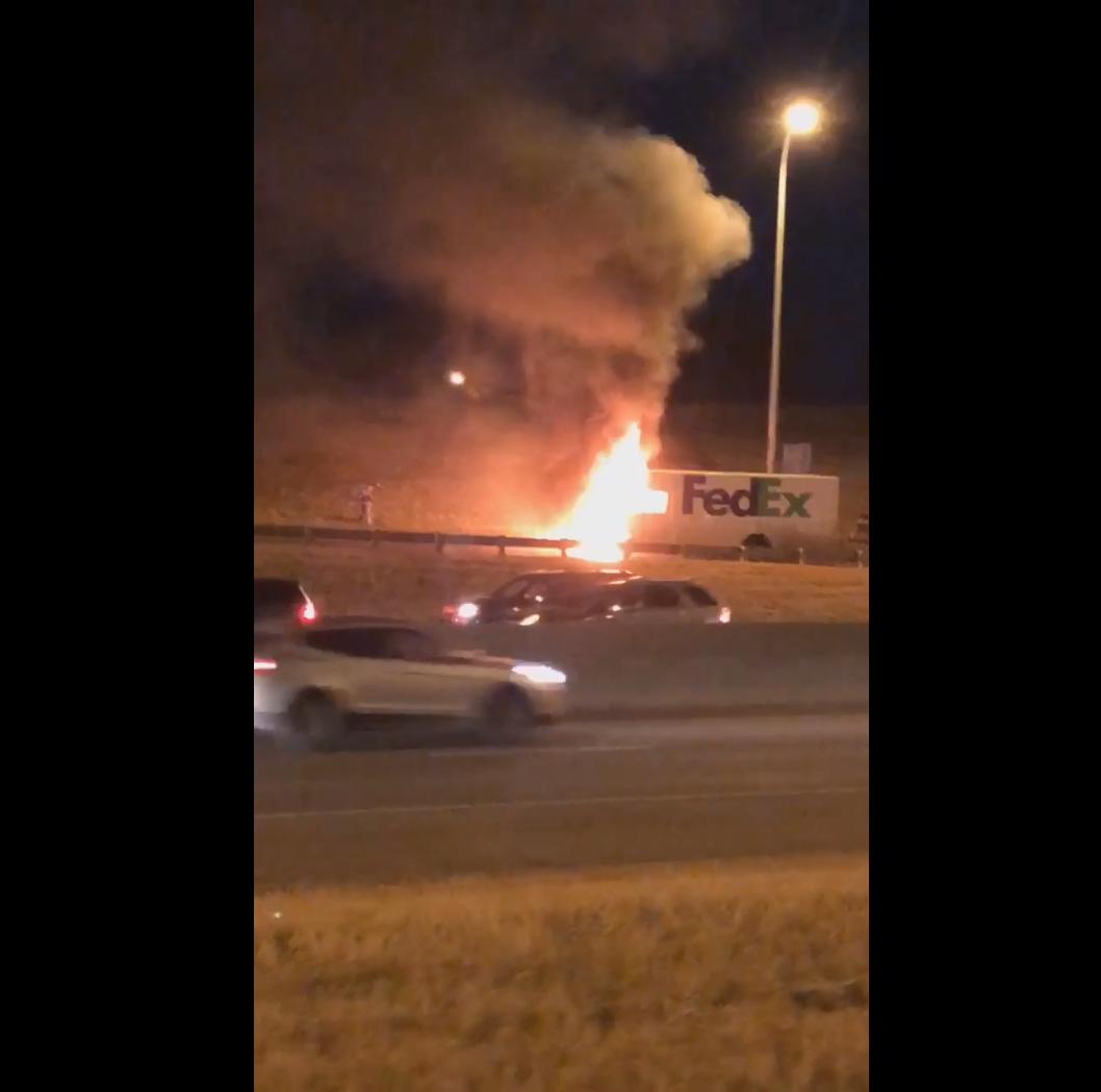 No one injured in FedEx truck fire