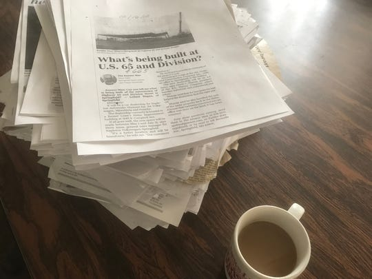 A stack of stories.  These are the 665 prior Pokin Around and Answer Man columns.  Columnist Steve Pokin thought about going straight to column No. 667.