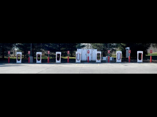 Row of Tesla superchargers at Sheetz in Staunton.