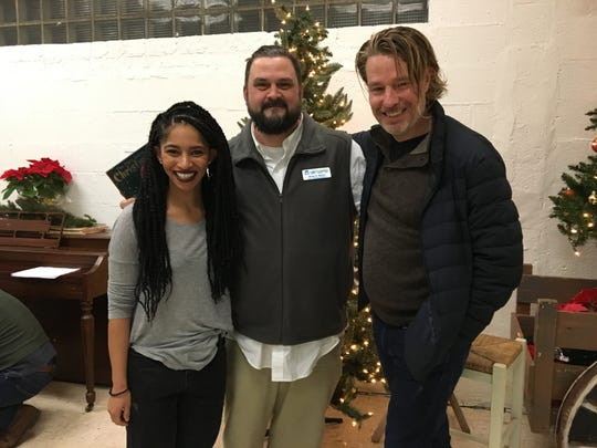 American Shakespeare Center actor Constance Swain, Valley Mission director Greg Beam and ASC artistic director Ethan McSweeny bring the spirit of Christmas to the Valley Mission homeless shelter on Monday, December 17, 2018.