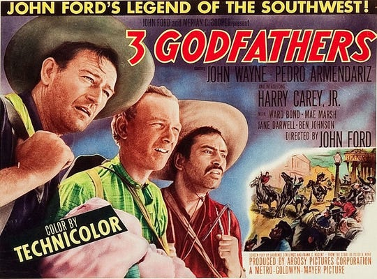 "It's Christmastime out west in ""3 Godfathers."""