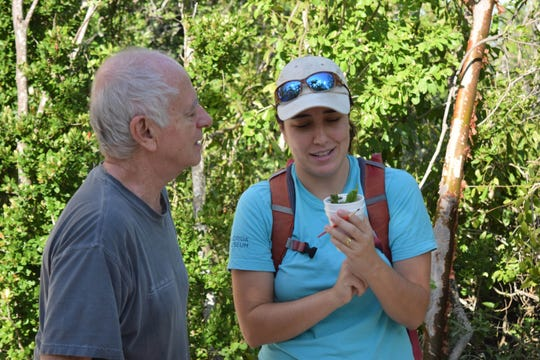 Sarah Steele Cabrera shows a young Miami blue to a nearby landowner in Long Key.