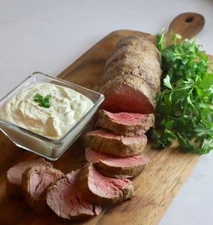Beef Tenderloin with Gorgonzola Sauce makes an elegant Christmas dinner.