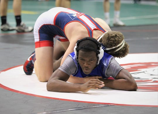 Godby sophomore Nigel Brown faces a Pace wrestler at 138 pounds during 2018 Capital City Classic wrestling tournament at Chiles High School.