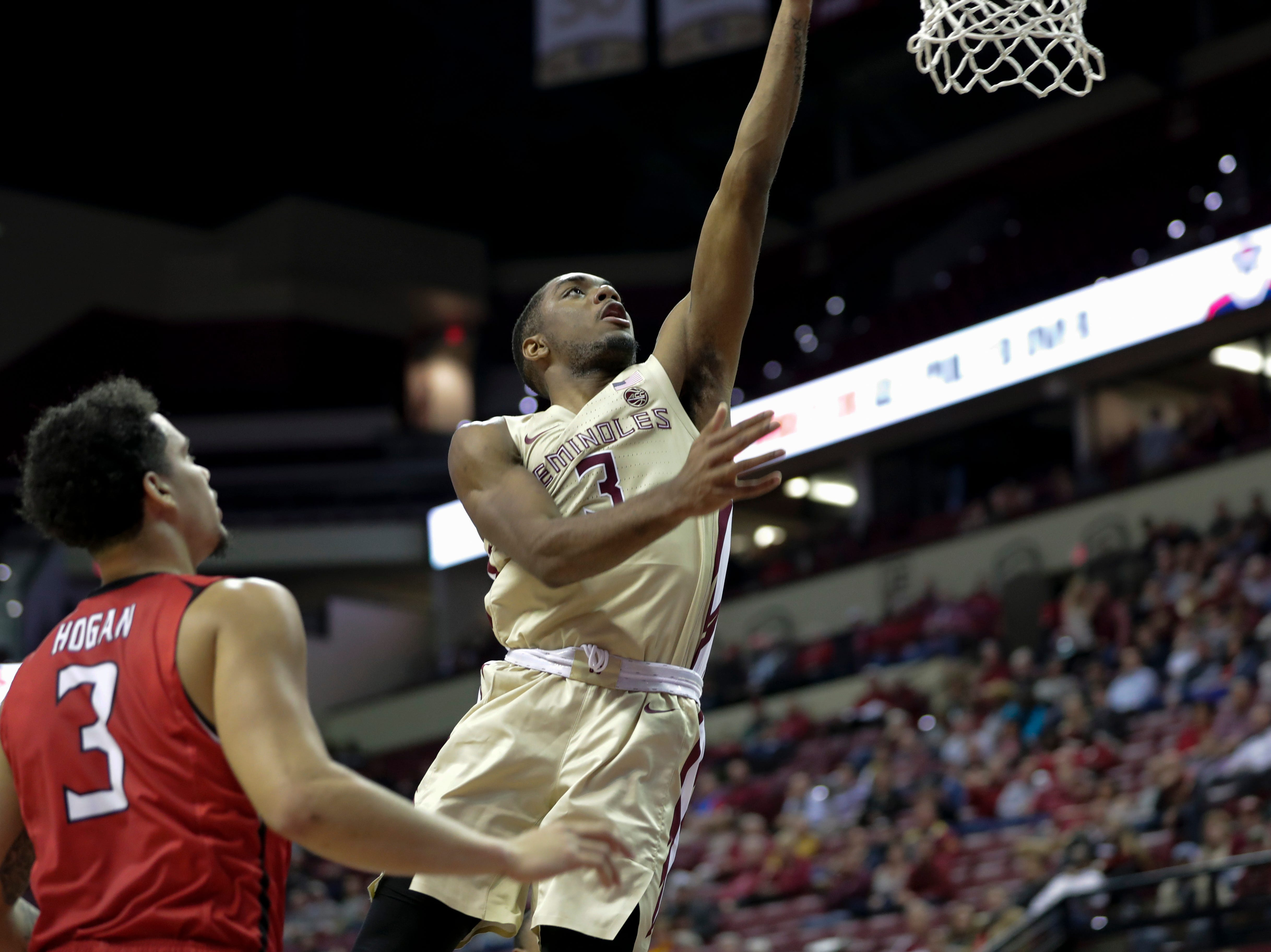 Florida State Seminoles guard Trent Forrest (3) puts up a shot during a game between Florida State University and Southeast Missouri State University at the Donald L. Tucker Civic Center Monday, Dec. 17, 2018.