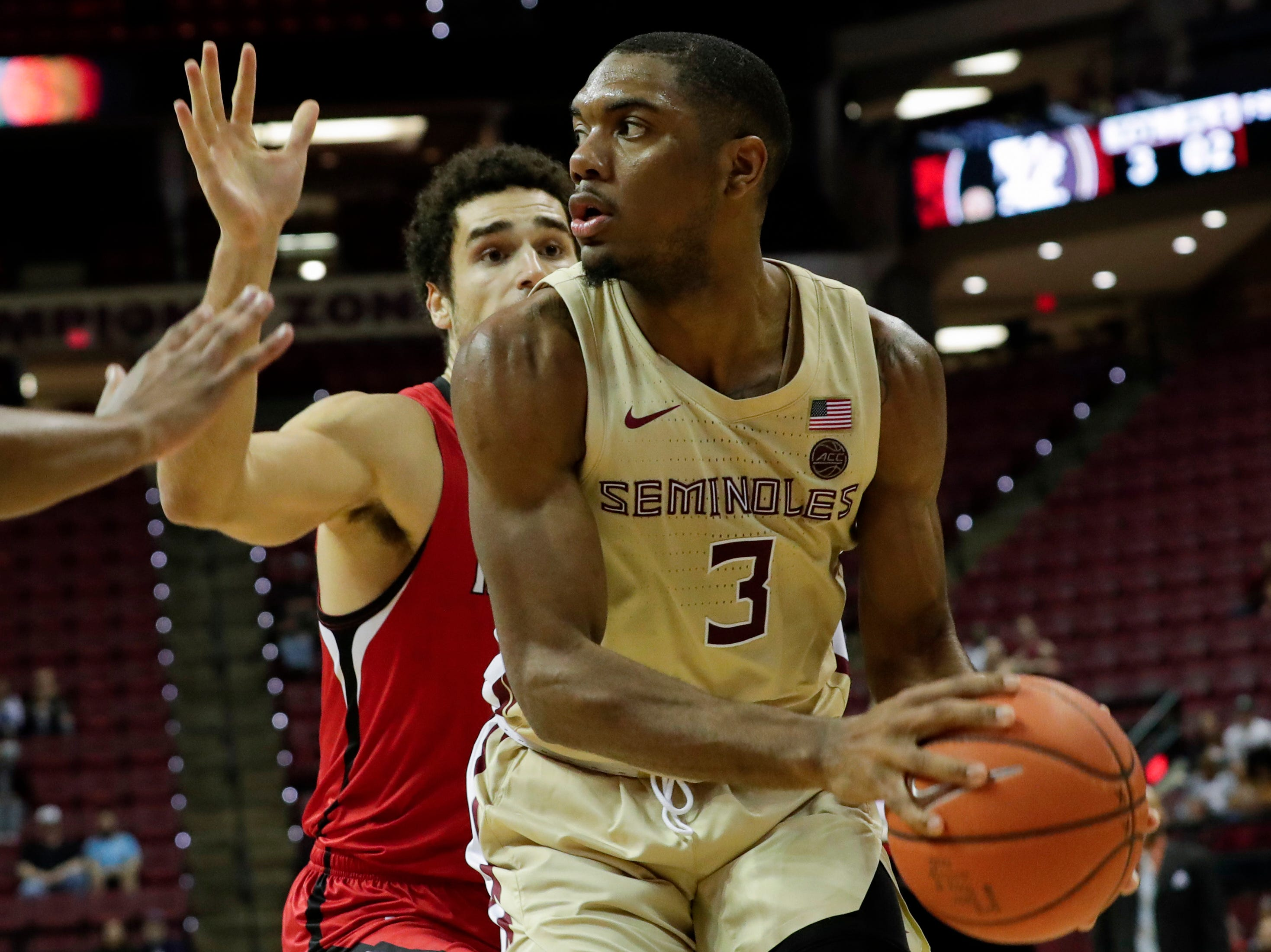 Florida State Seminoles guard Trent Forrest (3) looks for an opening during a game between Florida State University and Southeast Missouri State University at the Donald L. Tucker Civic Center Monday, Dec. 17, 2018.