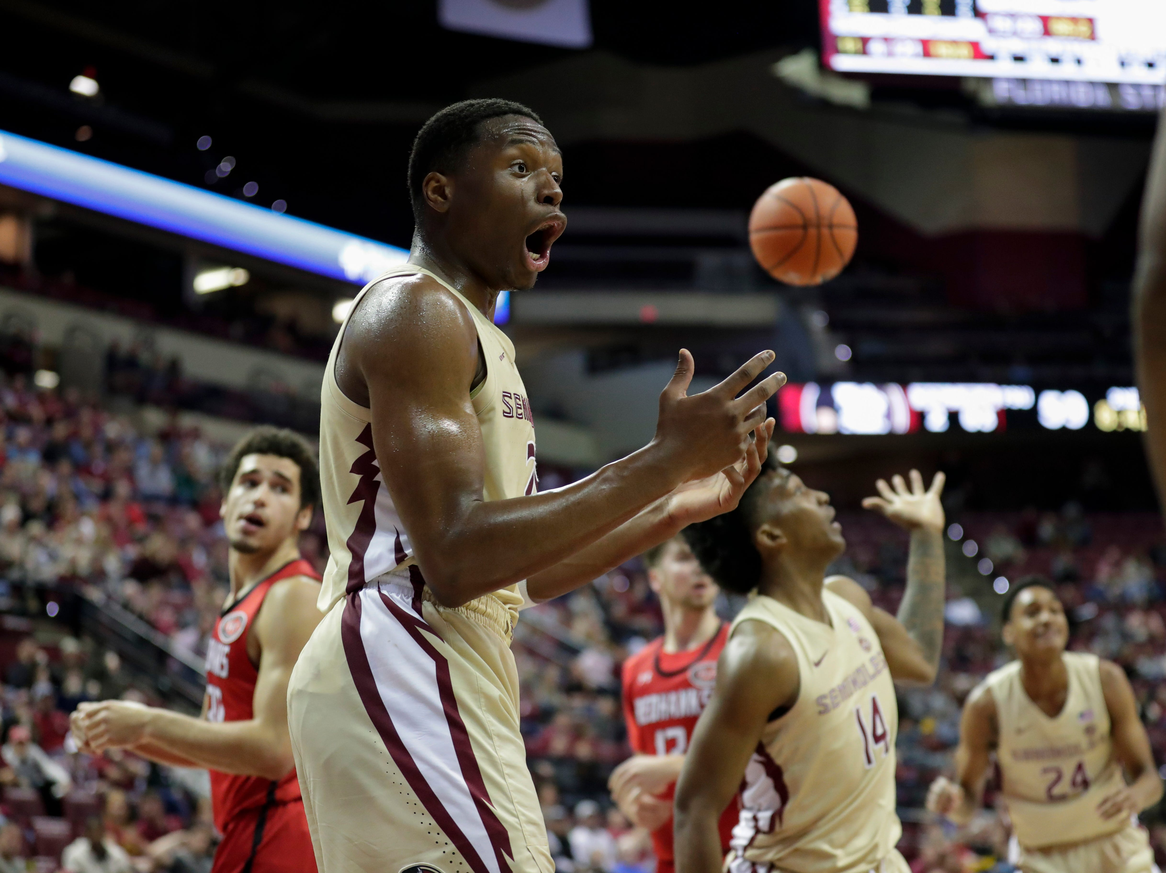 Florida State Seminoles forward Mfiondu Kabengele (25) reacts to a call during a game between Florida State University and Southeast Missouri State University at the Donald L. Tucker Civic Center Monday, Dec. 17, 2018.