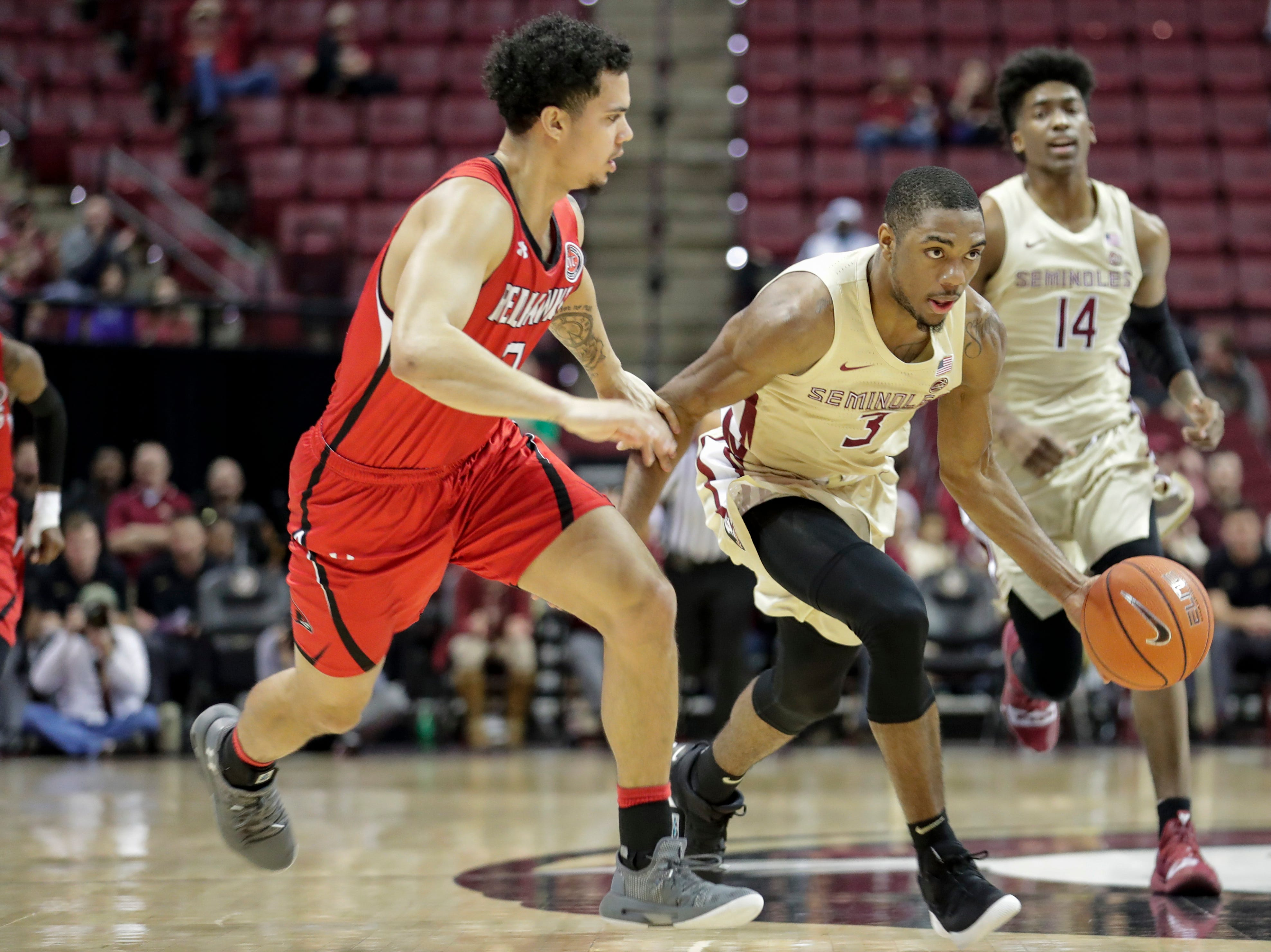 Florida State Seminoles guard Trent Forrest (3) drives down the court during a game between Florida State University and Southeast Missouri State University at the Donald L. Tucker Civic Center Monday, Dec. 17, 2018.