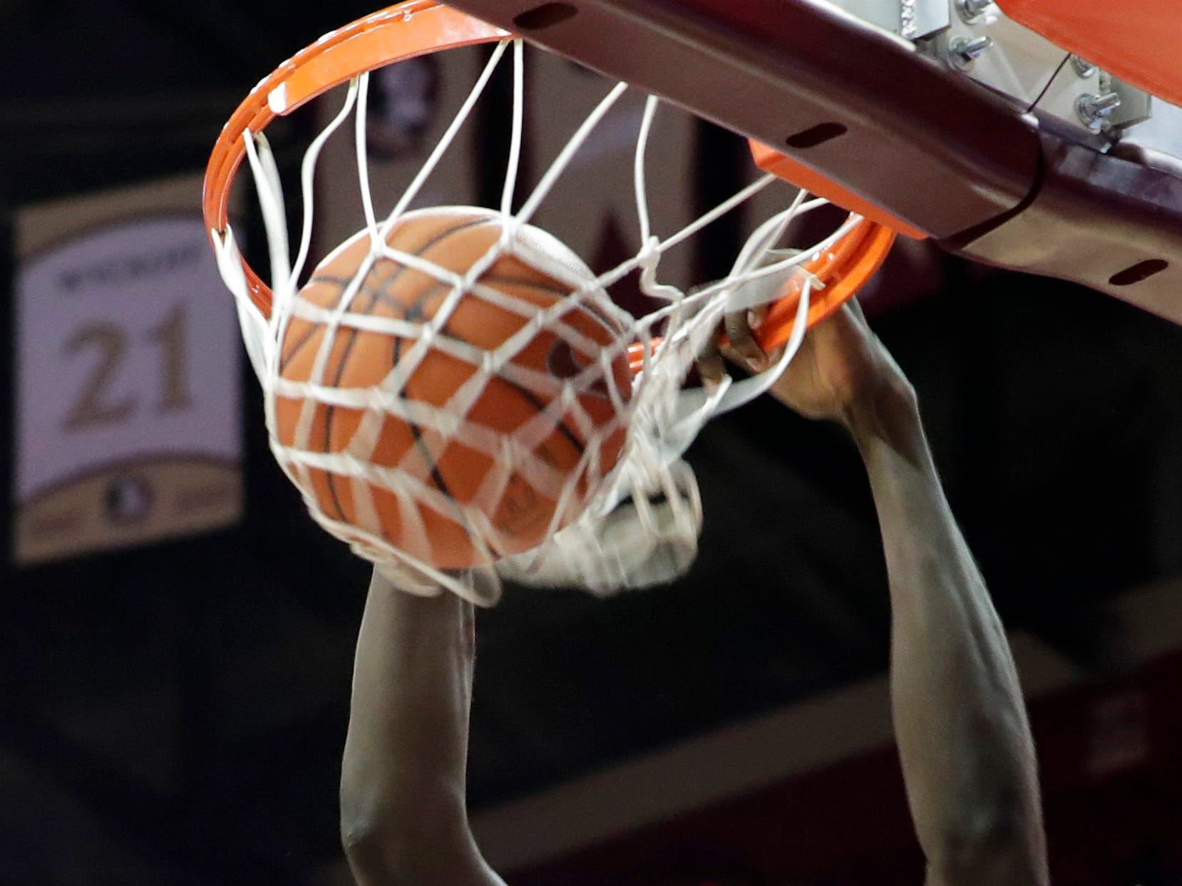Florida State Seminoles center Christ Koumadje (21) dunks the ball to tie the game at half time 34-34 during a game between Florida State University and Southeast Missouri State University at the Donald L. Tucker Civic Center Monday, Dec. 17, 2018.