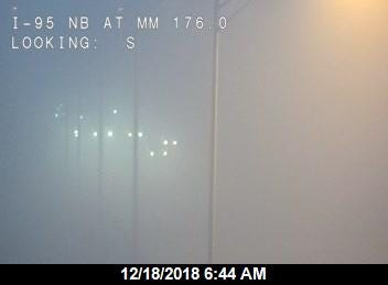Dense fog on Interstate 95 near Palm Bay in Brevard County.