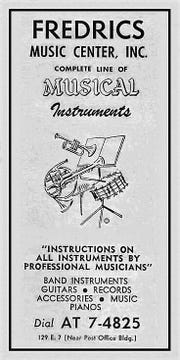 Fredrics Music shop advertisement.