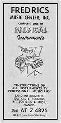 Fredrics Music shop advertisement.