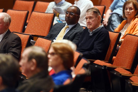 Tony Reagins (left), Major League Baseball's executive vice-president of baseball and softball development, and Peter O'Malley, former owner of the L.A. Dodgers, were on hand Tuesday, Dec. 18, 2018 for the Indian River County Commissioners meeting as commissioners voted 4 to 1 approving a 10-year lease with Major League Baseball to takeover facility operations of Historic Dodgertown.