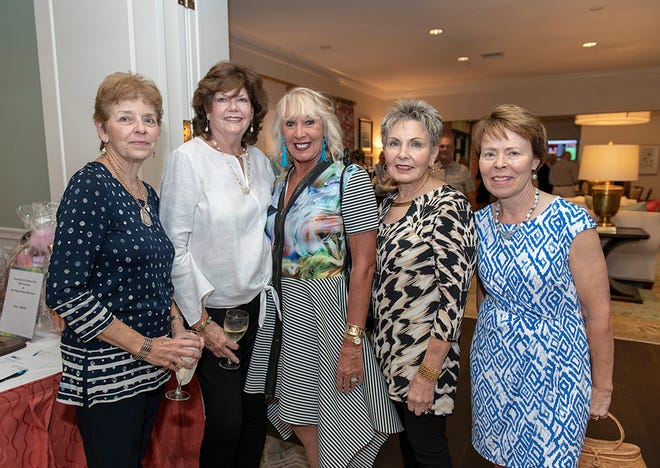 Isabel Cano, left, Maureen Lennon, Jane Smyth, Lorraine Cardarelli and Debbie Lovequist at the 2018 Swinging Fore the ARC Golf Tournament at Piper's Landing Yacht and Country Club in Palm City.