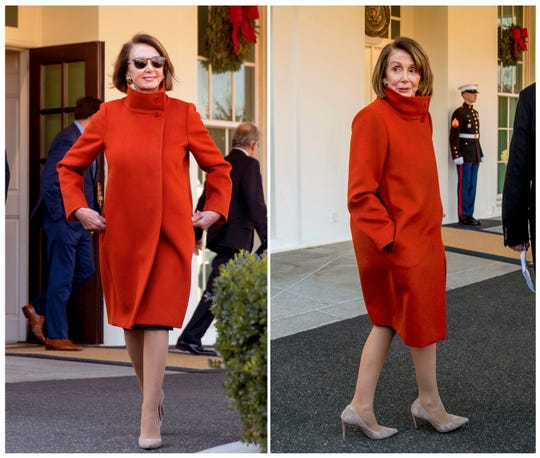 This combination photo shows House Minority Leader Nancy Pelosi wearing a Max Mara coat outside of the West Wing at the White House in Washington following a meeting with President Donald Trump about funding the border wall between the U.S. and Mexico.