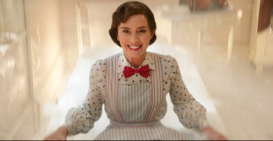 "This image released by Disney shows Emily Blunt as Mary Poppins in ""Mary Poppins Returns."""