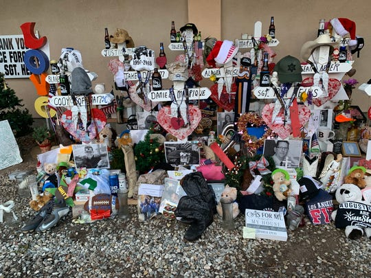 A makeshift community memorial for the victims of the Nov. 7 mass shooting at the Borderline Bar & Grill is outside the Thousand Oaks establishment.