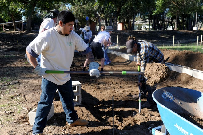 Jorge Lagunas, an employee at Growing Works, helps excavate the new compost area on Dec. 15. Growing Works helps the homeless community and people who have struggled with mental illness find jobs in horticulture.