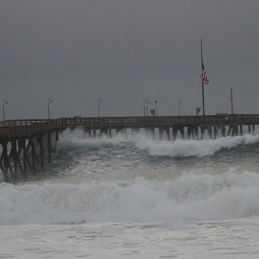 Ventura Pier closed after high surf causes damage to pilings