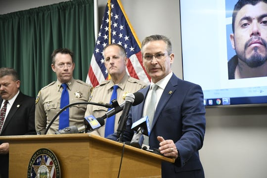 """Tulare County Sheriff Mike Boudreaux  discusses a Tulare County """"reign of terror,"""" which spanned 11 crimes in 24 hours, all believed to be committed by Gustavo Garcia, 36."""