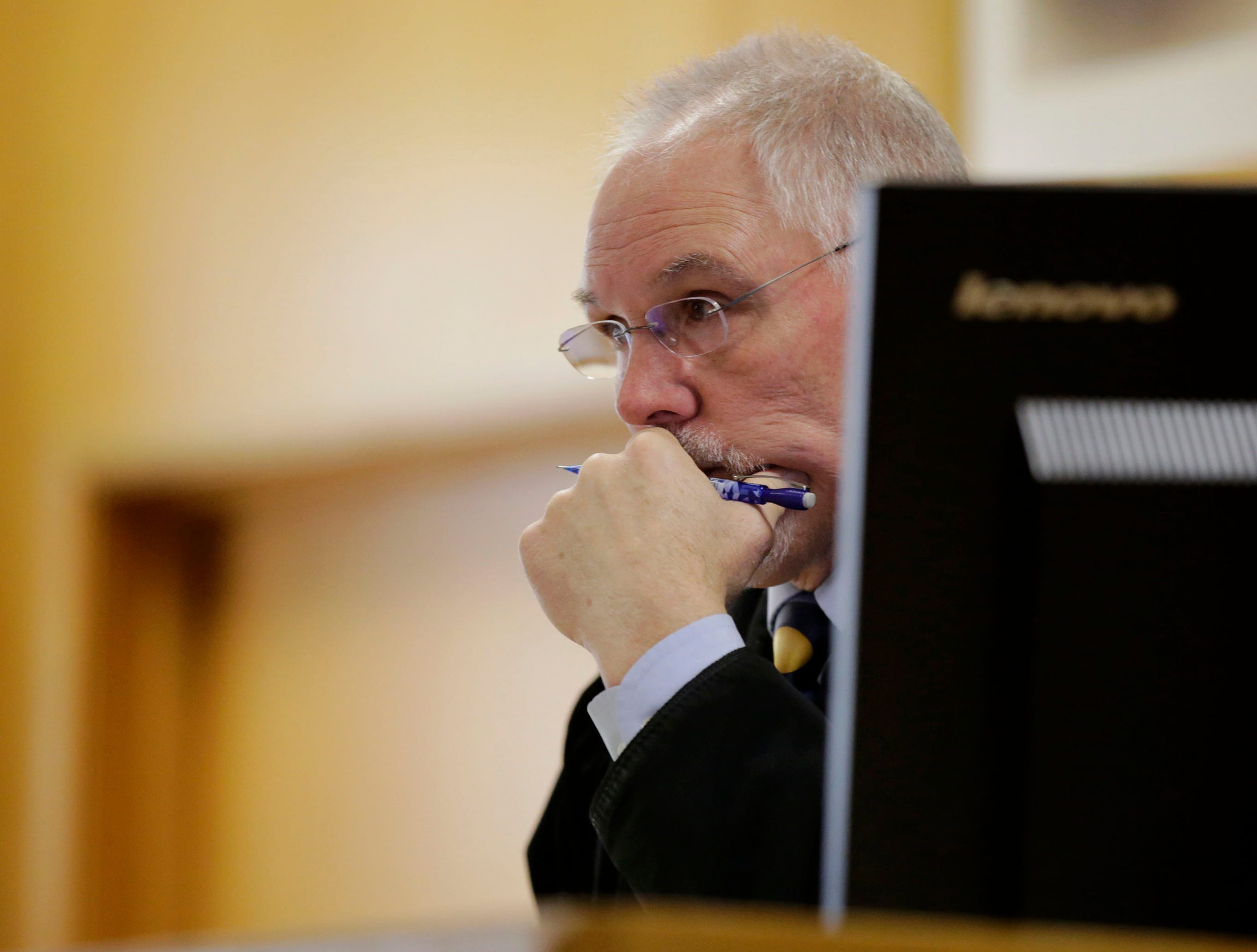 Wood County Circuit Judge Greg Potter listens to testimony during a sentencing hearing on Tuesday, December 18, 2018, at the Wood County courthouse in Wisconsin Rapids, Wis.Tork Mason/USA TODAY NETWORK-Wisconsin