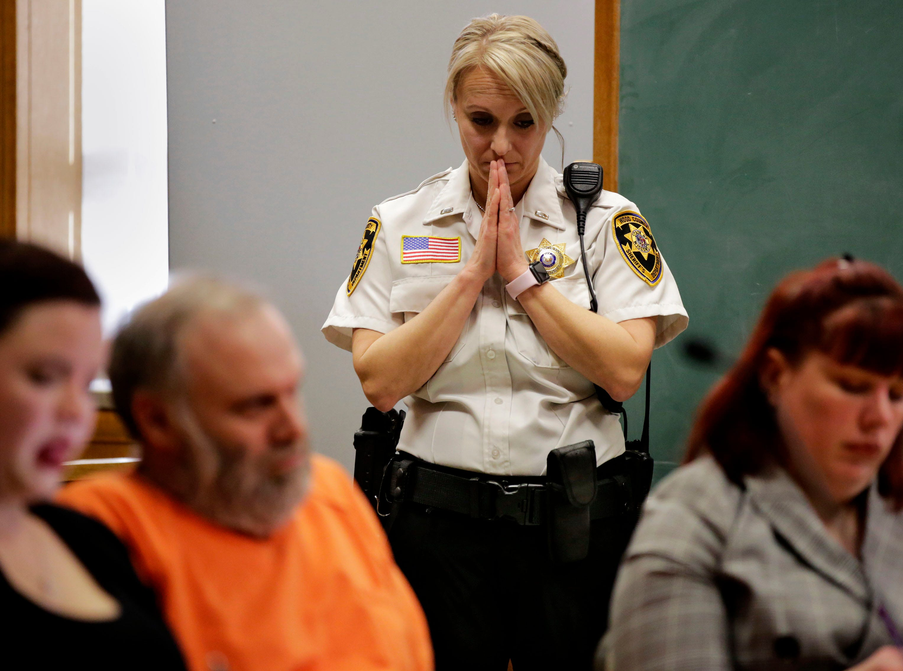 Wood County Jail Lieutenant Melissa Simcakowski reacts to testimony during a sentencing hearing on Tuesday, December 18, 2018, at the Wood County courthouse in Wisconsin Rapids, Wis. Defendant Gary Bohman was sentenced to life in prison with no possibility of parole for the murder of Christopher Race.Tork Mason/USA TODAY NETWORK-Wisconsin