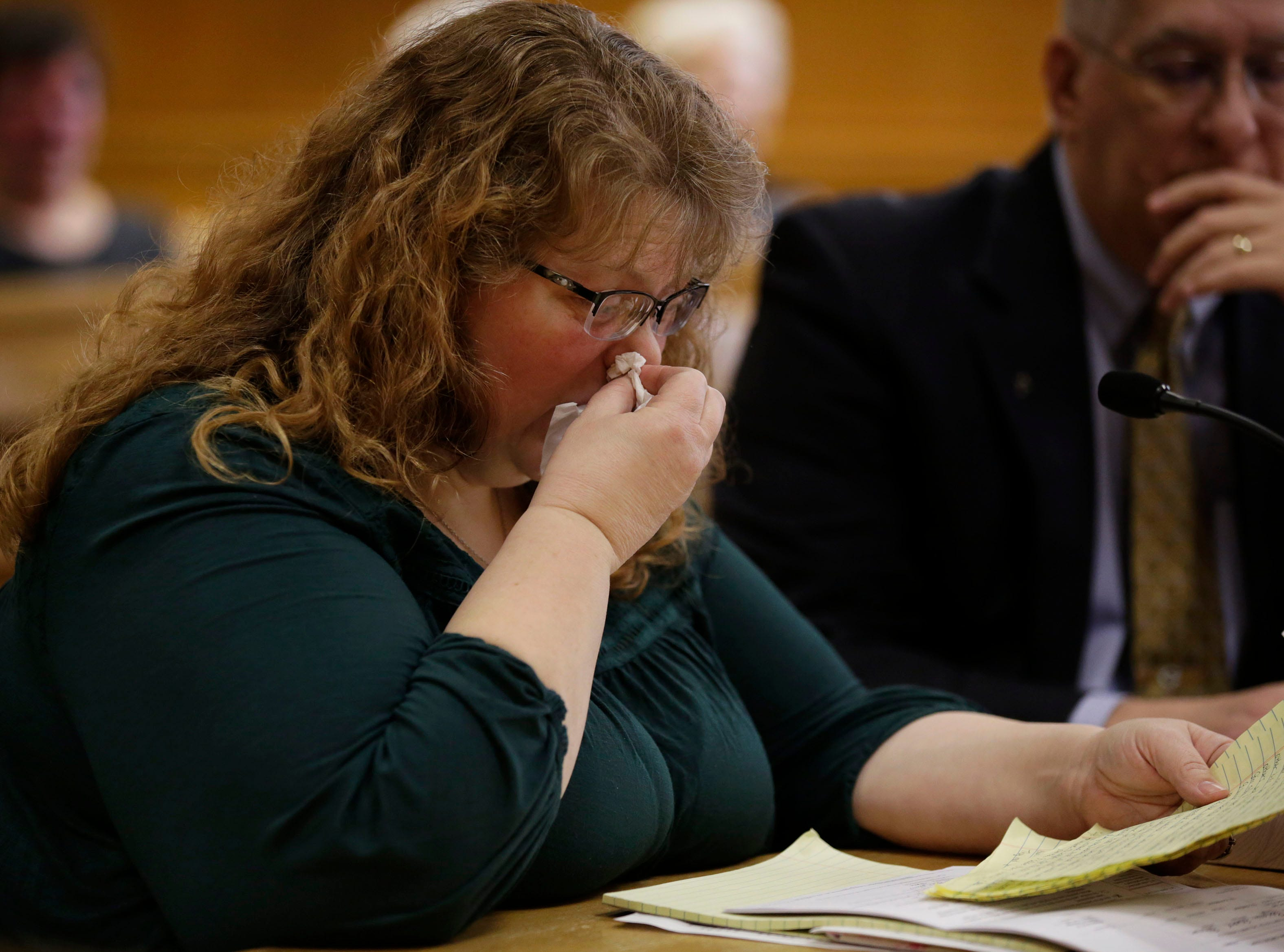 Jacalyn Bohman Race, wife of victim Christopher Race and ex-wife of defendent Gary Bohman, reads a victim impact statement during a sentencing hearing on Tuesday, December 18, 2018, at the Wood County courthouse in Wisconsin Rapids, Wis. Bohman was sentenced to life in prison with no possibility of parole for the murder of Christopher Race. Tork Mason/USA TODAY NETWORK-Wisconsin