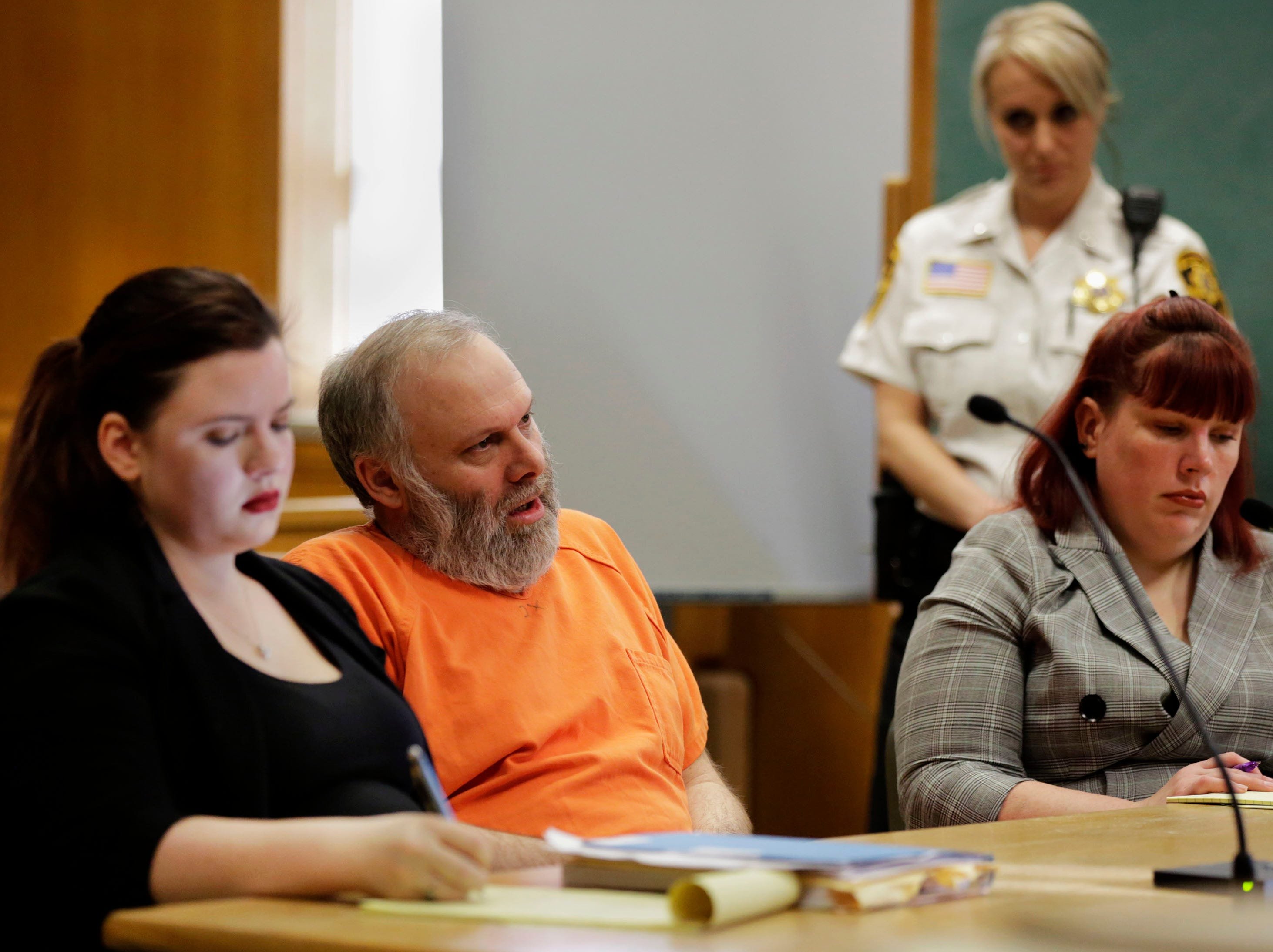 Defendant Gary Bohman addresses the court during a sentencing hearing on Tuesday, December 18, 2018, at the Wood County courthouse in Wisconsin Rapids, Wis. Bohman was sentenced to life in prison with no possibility of parole for the murder of Christopher Race.Tork Mason/USA TODAY NETWORK-Wisconsin