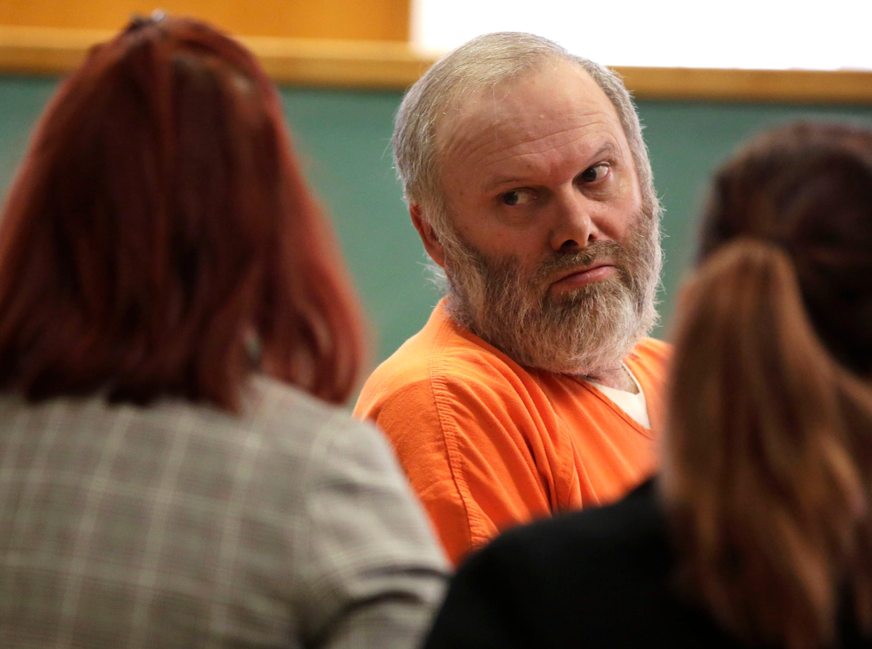 Defendant Gary Bohman talks with his attorneys before exiting the courtroom after a sentencing hearing on Tuesday, December 18, 2018, at the Wood County courthouse in Wisconsin Rapids, Wis. Bohman was sentenced to life in prison with no possibility of parole for the murder of Christopher Race.Tork Mason/USA TODAY NETWORK-Wisconsin