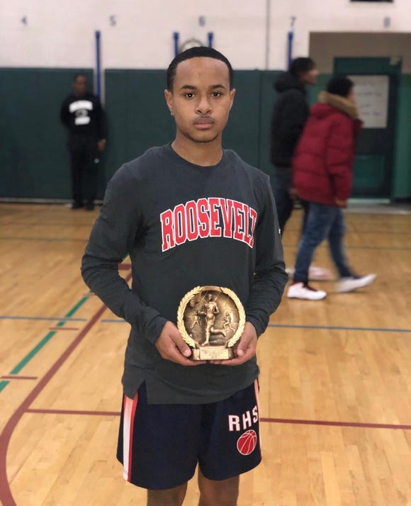 Roosevelt senior Marcus Heron was named MVP after his team won the Yonkers City Tournament championship over Lincoln on Dec. 15, 2018 at Palisade Prep.