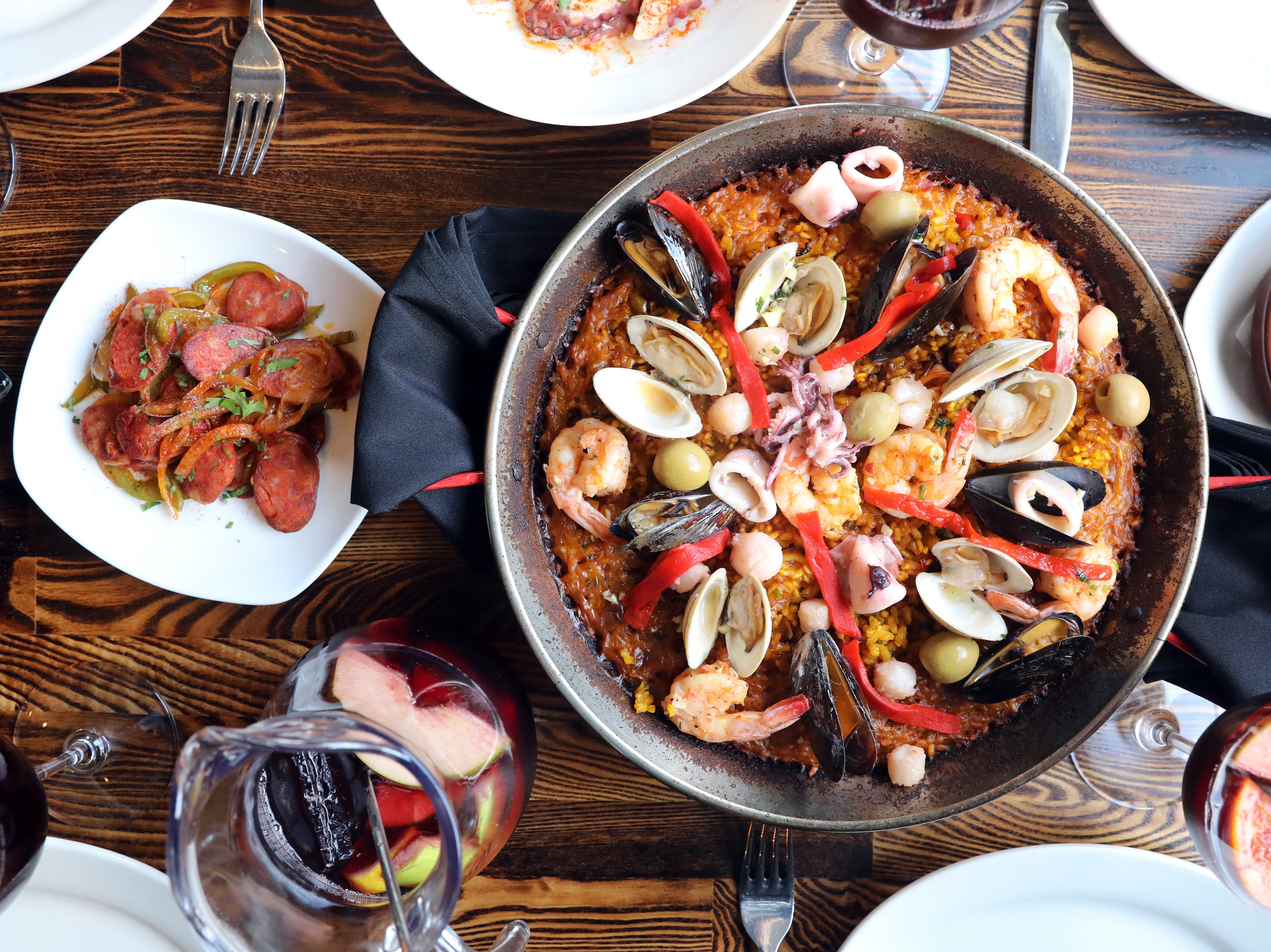 TANIA SAVAYAN: Seafood paella, tapas and sangria at Basque Tapas Bar Restaurant in Piermont Oct. 23, 2018.