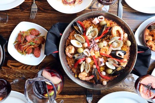 Seafood paella, tapas and sangria at Basque Tapas Bar Restaurant in Piermont.