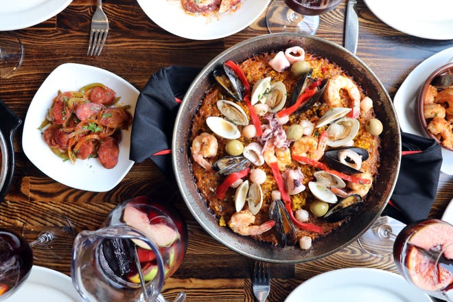 Seafood paella, tapas and sangria at Basque Tapas Bar Restaurant in Piermont.