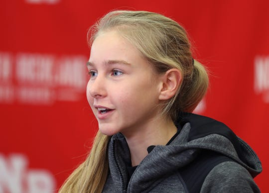 North Rockland runner Katelyn Tuohy speaks after receiving the Key to Rockland County at the high school Dec. 18, 2018.