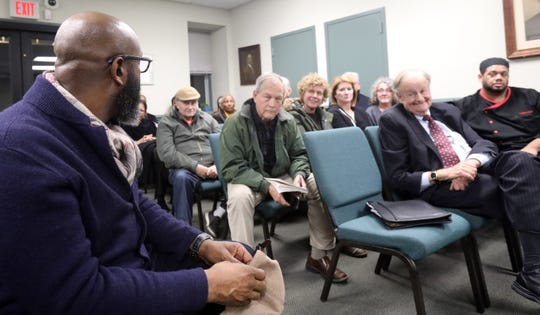 Richelieu Dennis owner of Sundial Brands who recently bought Madam C.J. Walker home listens as the town express their happiness about him buying the home on MillionaireÕs Row during a town hall meeting in Irvington on Dec. 17, 2018.