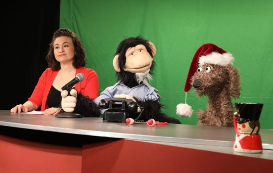 From left: Host Tamra Malaga, co-host Gordon Goodall handled by puppeteer Josh Cohen, and Ruffus, handled by guest puppeteer Noel MacNeal, on the set of the Monkey News Source television show in White Plains, Dec. 18, 2018.