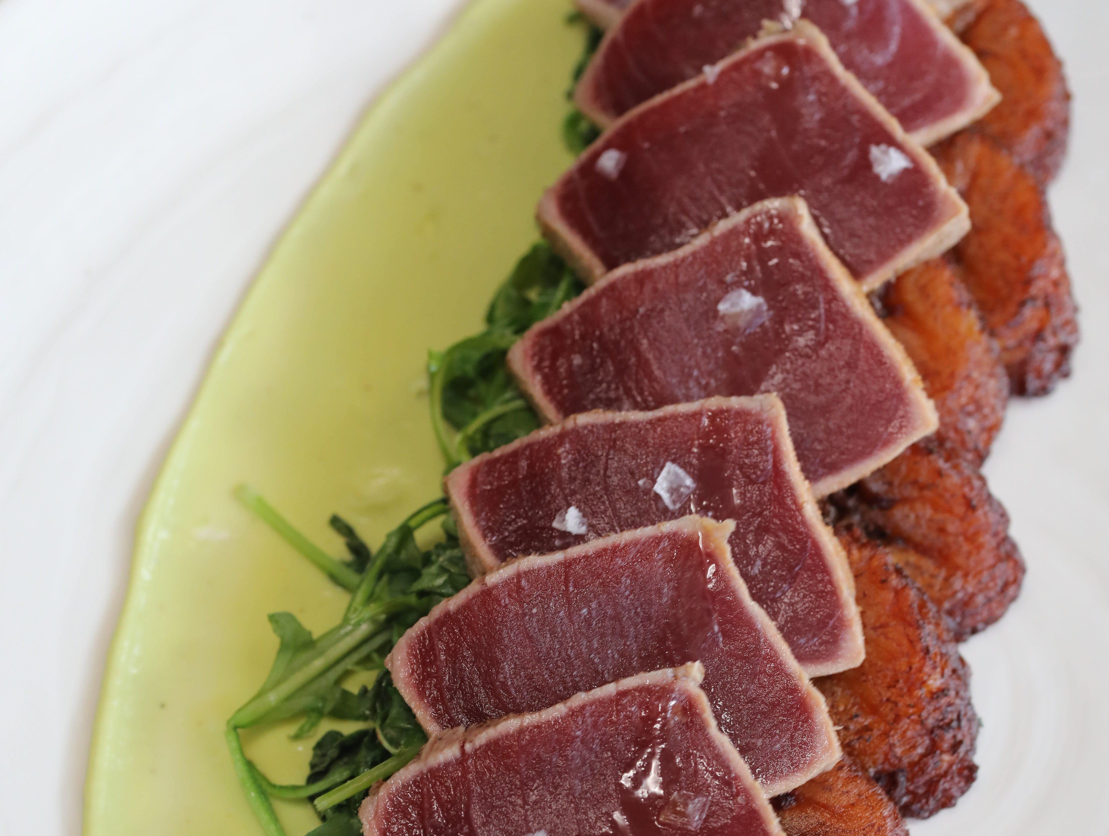 MARK VERGARI: The seared tuna with sauteed arugula, plantains and avocado cream at Unico Restaurant on North Central Avenue in Hartsdale, April 26, 2018.