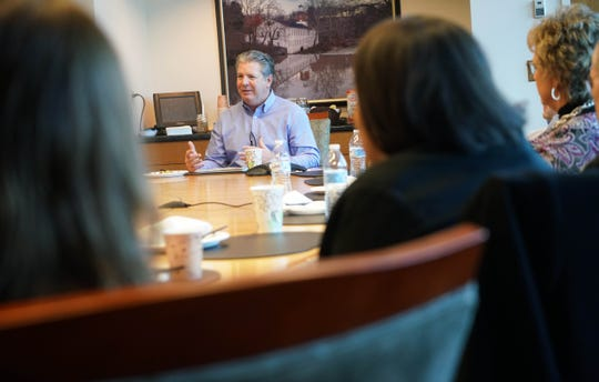 New Journal President Tom Donovan speaks with seven local nonprofits who, in 2018, were awarded $37,000 by the Gannett Foundation, the charitable arm of the company that owns The News Journal.