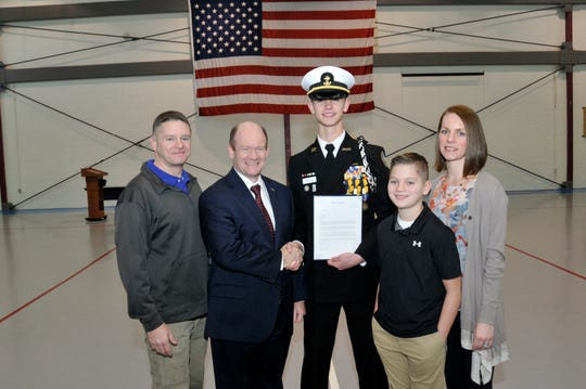On Tuesday, Dec. 18, 2018, Senator Chris Coons visited with two of his principal nominees for service academy appointments. Collin Green of the Delaware Military Academy is the principal nominee for the United States Naval Academy. He is pictured here with him mom Heather, father Jeremy and brother Blake.