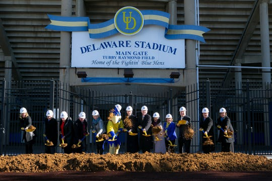 The University of Delaware celebrates the start of the $60-million renovation of Delaware Stadium and the creation of the Whitney Athletic Center with a groundbreaking ceremony in December 2018.