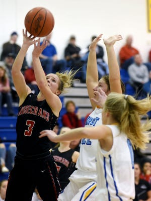 Claire Creeks goes up for a layup during Rosecrans' 56-45 win against host West Muskingum on Monday night at Gary Ankrum Gymnasium.
