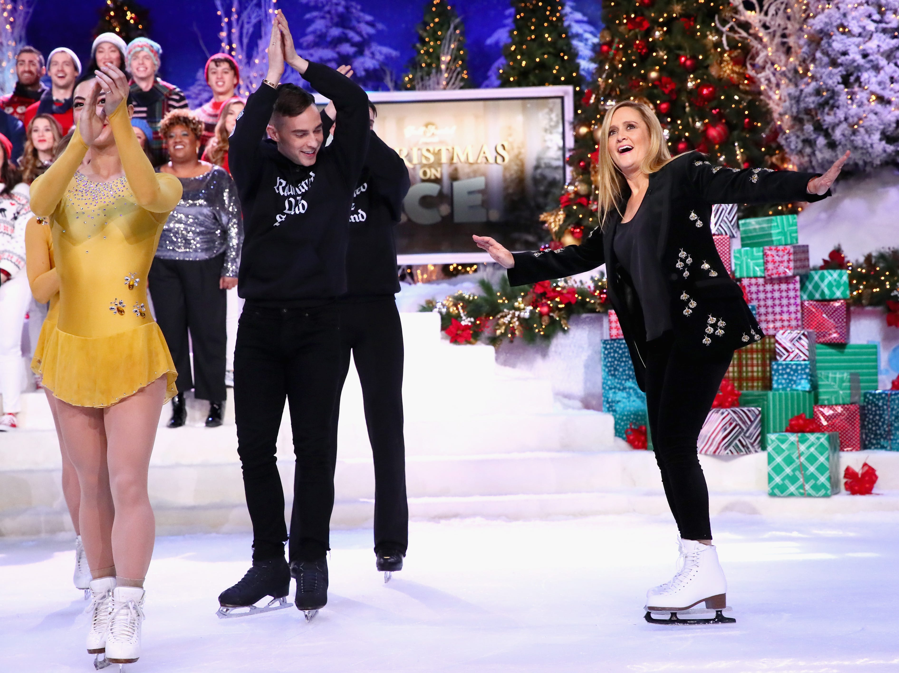 NEW YORK, NY - DECEMBER 17: (L) Adam Rippon and Samantha Bee perform onstage during Full Frontal With Samantha Bee Presents Christmas On I.C.E. at PlayStation Theater on December 17, 2018 in New York City. 477176  (Photo by Astrid Stawiarz/Getty Images for TBS) ORG XMIT: 775269219 ORIG FILE ID: 1074341072
