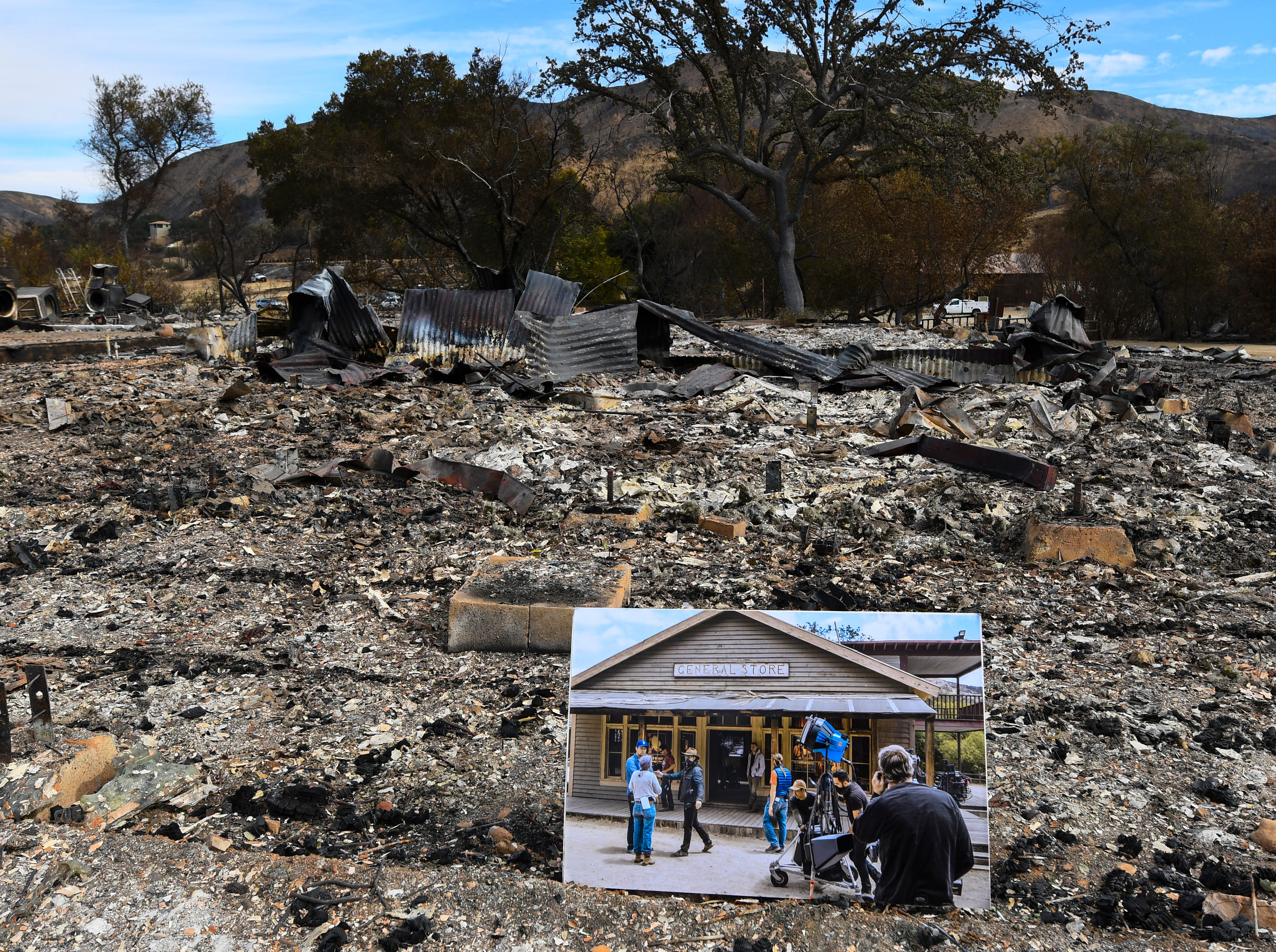 A photograph marks the spot at Paramount Ranch in  Agoura Hills, Calif. on Nov. 16, 2018 where the general store set once stood. The Paramount Ranch, a frontier western town built as a movie set that appeared in countless movies and TV shows was decimated by the Woolsey fire.