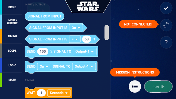 Some of the coding options in the Droid Inventor Kit app.