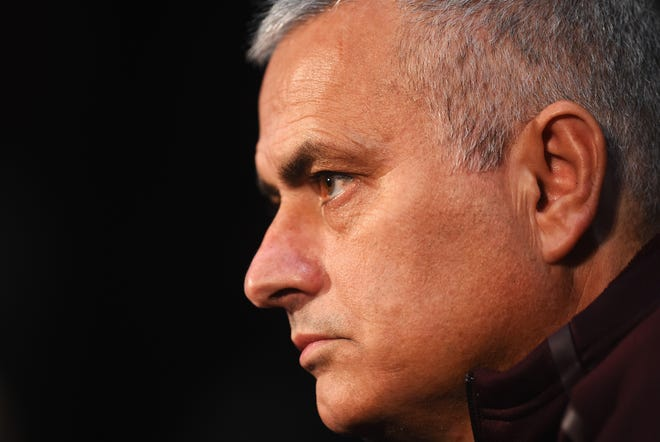 Jose Mourinho, manager of Manchester United looks on during a press conference at Old Trafford on November 26, 2018 in Manchester, England.