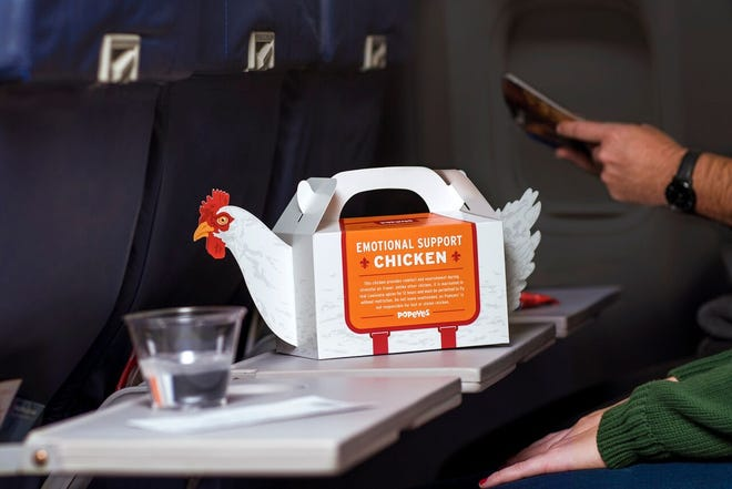 """Popeyes is selling an """"Emotional Support Chicken"""" carrier with a fried chicken meal at the Philadelphia International Airport."""