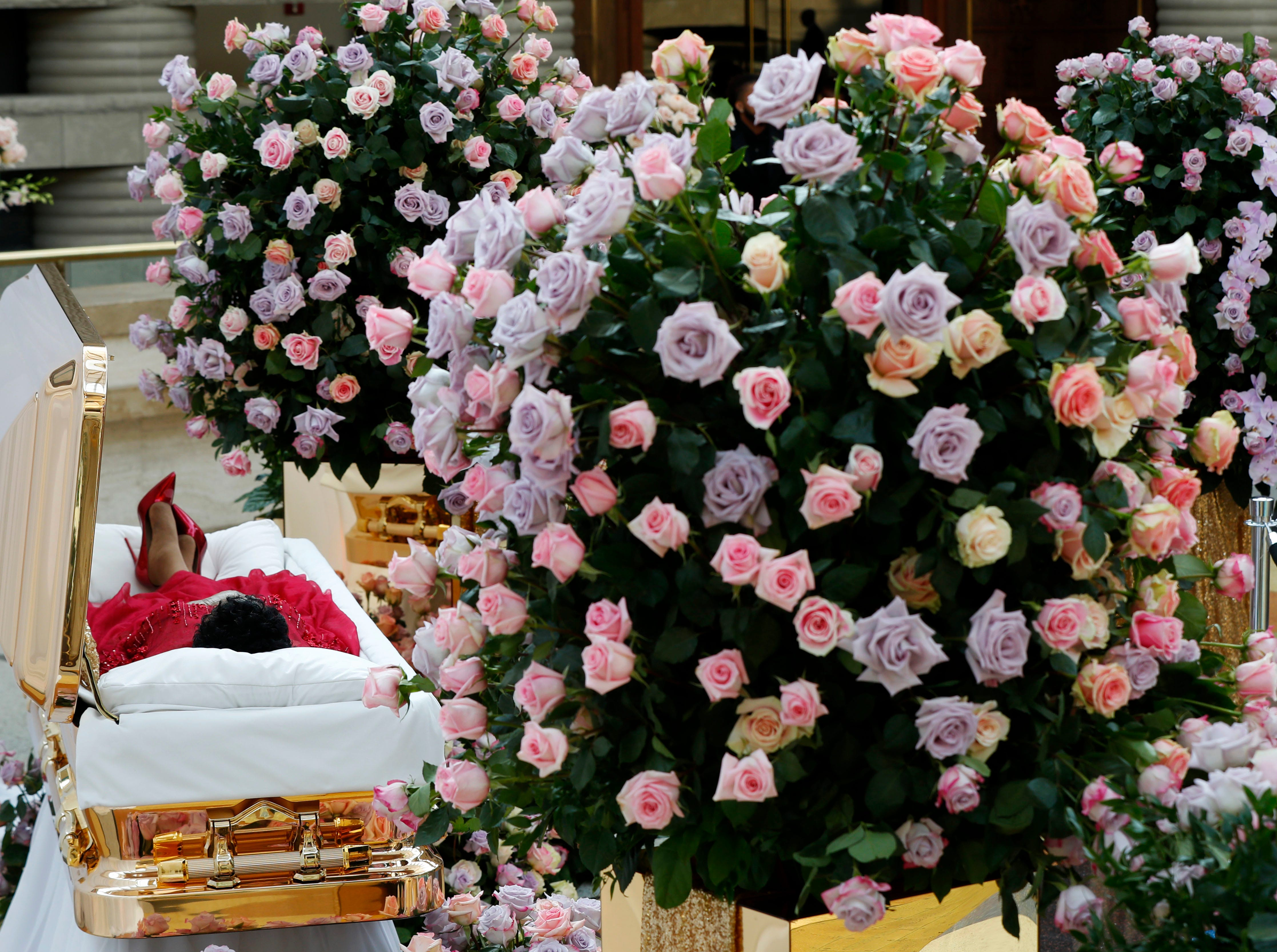 Aug. 28, 2018: Aretha Franklin lies in her casket at Charles H. Wright Museum of African American History during a public visitation in Detroit. Franklin died Aug. 16, 2018, of pancreatic cancer at the age of 76.