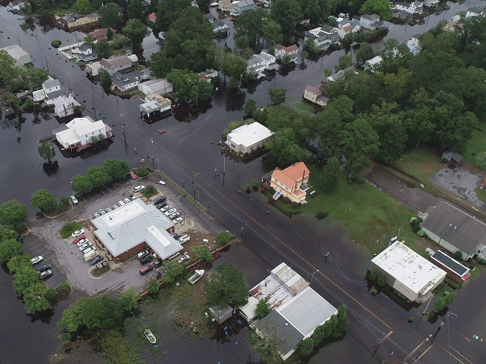 Sept. 15, 2018: Drone photo of local flooding in Belhaven, N.C. Hurricane Florence brought heavy rain to the area flooding streets and homes.