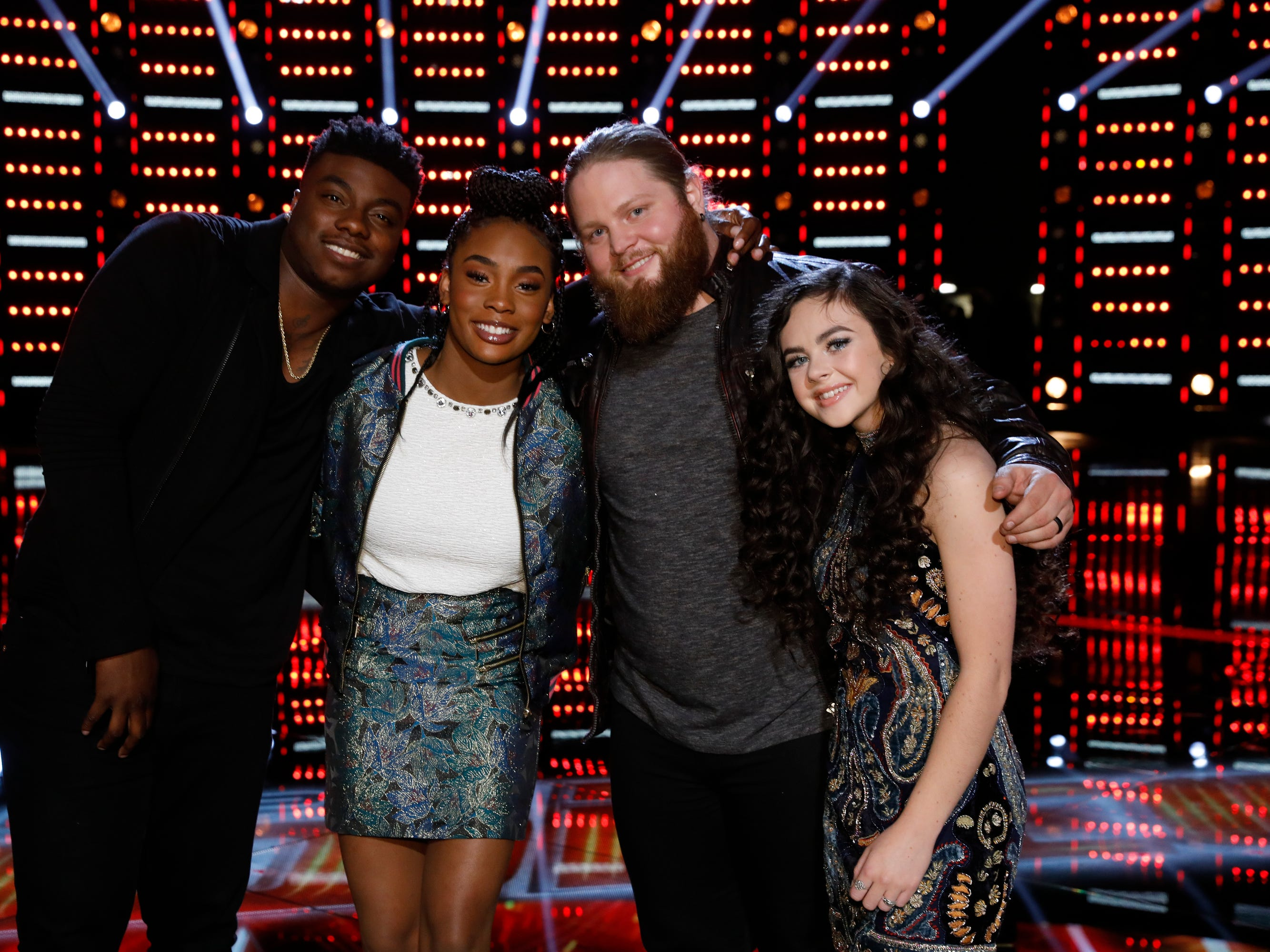 """Monday night was do-or-die time on """"The Voice"""" as the finalists made their case for being named winner.  The last four left standing? Kirk Jay (Team Blake), Kennedy Holmes (Team JHud), Chris Kroeze (Team Blake) and Chevel Shepherd (Team Kelly). The Season 15 champ will be named Tuesday night."""